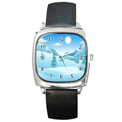 Landscape Winter Ice Cold Xmas Square Metal Watch