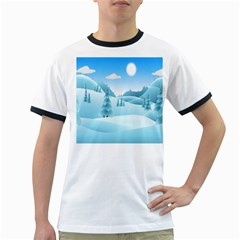 Landscape Winter Ice Cold Xmas Ringer T Shirts