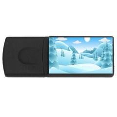 Landscape Winter Ice Cold Xmas Rectangular Usb Flash Drive