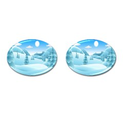 Landscape Winter Ice Cold Xmas Cufflinks (oval)