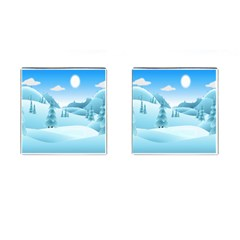 Landscape Winter Ice Cold Xmas Cufflinks (square)