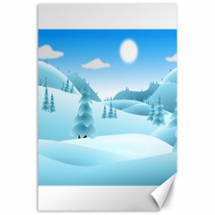 Landscape Winter Ice Cold Xmas Canvas 24  X 36