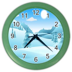 Landscape Winter Ice Cold Xmas Color Wall Clocks