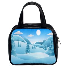 Landscape Winter Ice Cold Xmas Classic Handbags (2 Sides)
