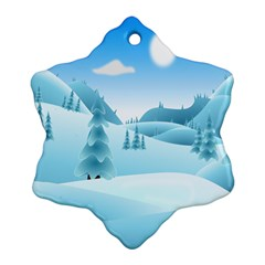 Landscape Winter Ice Cold Xmas Snowflake Ornament (two Sides)
