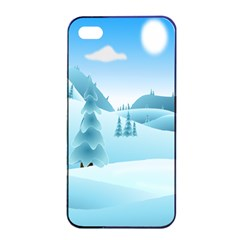 Landscape Winter Ice Cold Xmas Apple Iphone 4/4s Seamless Case (black)