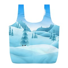 Landscape Winter Ice Cold Xmas Full Print Recycle Bags (l)