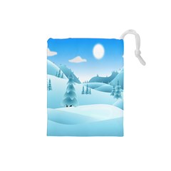 Landscape Winter Ice Cold Xmas Drawstring Pouches (small)