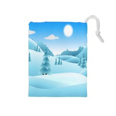 Landscape Winter Ice Cold Xmas Drawstring Pouches (medium)