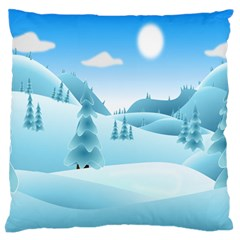 Landscape Winter Ice Cold Xmas Standard Flano Cushion Case (two Sides)