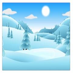 Landscape Winter Ice Cold Xmas Large Satin Scarf (square)