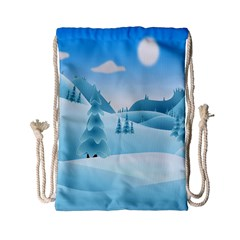 Landscape Winter Ice Cold Xmas Drawstring Bag (small)