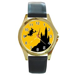 Castle Cat Evil Female Fictional Round Gold Metal Watch