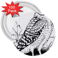 Animal Bird Forest Nature Owl 3  Buttons (100 Pack)