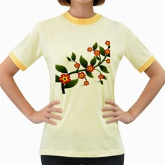 Flower Branch Nature Leaves Plant Women s Fitted Ringer T Shirts