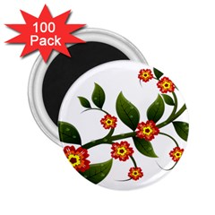 Flower Branch Nature Leaves Plant 2 25  Magnets (100 Pack)