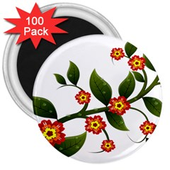 Flower Branch Nature Leaves Plant 3  Magnets (100 Pack)