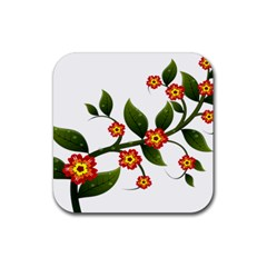 Flower Branch Nature Leaves Plant Rubber Square Coaster (4 Pack)  by Nexatart