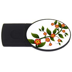 Flower Branch Nature Leaves Plant Usb Flash Drive Oval (4 Gb)
