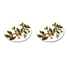 Flower Branch Nature Leaves Plant Cufflinks (oval)