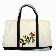 Flower Branch Nature Leaves Plant Two Tone Tote Bag