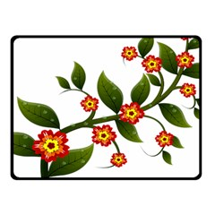 Flower Branch Nature Leaves Plant Fleece Blanket (small)