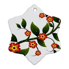 Flower Branch Nature Leaves Plant Snowflake Ornament (two Sides) by Nexatart