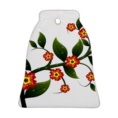 Flower Branch Nature Leaves Plant Bell Ornament (two Sides) by Nexatart