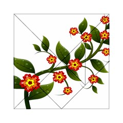 Flower Branch Nature Leaves Plant Acrylic Tangram Puzzle (6  X 6 )