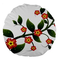 Flower Branch Nature Leaves Plant Large 18  Premium Round Cushions by Nexatart