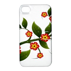 Flower Branch Nature Leaves Plant Apple Iphone 4/4s Hardshell Case With Stand