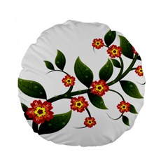 Flower Branch Nature Leaves Plant Standard 15  Premium Flano Round Cushions
