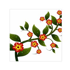 Flower Branch Nature Leaves Plant Small Satin Scarf (square)