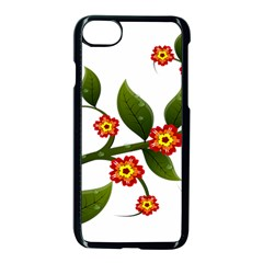Flower Branch Nature Leaves Plant Apple Iphone 7 Seamless Case (black)
