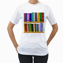 Shelf Books Library Reading Women s T Shirt (white) (two Sided)