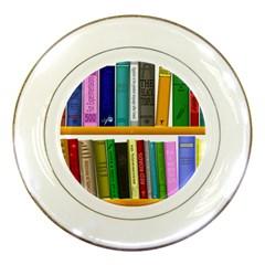 Shelf Books Library Reading Porcelain Plates