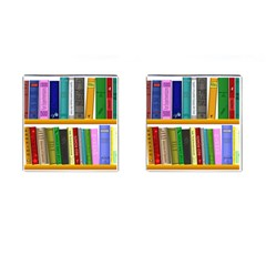 Shelf Books Library Reading Cufflinks (square)