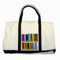 Shelf Books Library Reading Two Tone Tote Bag