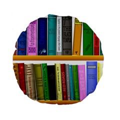 Shelf Books Library Reading Standard 15  Premium Flano Round Cushions