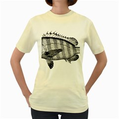 Animal Fish Ocean Sea Women s Yellow T Shirt