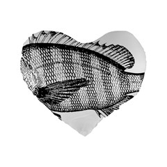 Animal Fish Ocean Sea Standard 16  Premium Flano Heart Shape Cushions