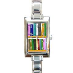 Shelf Books Library Reading Rectangle Italian Charm Watch