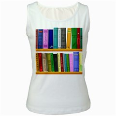 Shelf Books Library Reading Women s White Tank Top