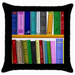 Shelf Books Library Reading Throw Pillow Case (black)