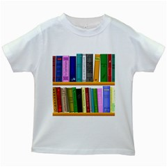 Shelf Books Library Reading Kids White T Shirts
