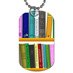 Shelf Books Library Reading Dog Tag (two Sides)