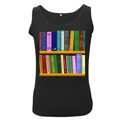 Shelf Books Library Reading Women s Black Tank Top