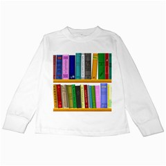 Shelf Books Library Reading Kids Long Sleeve T Shirts
