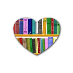 Shelf Books Library Reading Rubber Coaster (heart)
