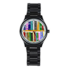 Shelf Books Library Reading Stainless Steel Round Watch